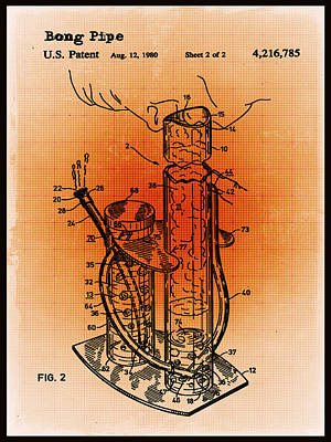 Mixed Media - Bong Patent Blueprint Drawings Sepia by Tony Rubino