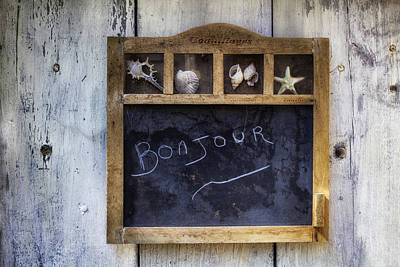 Bonjour Photograph - Bonjour Chalkboard by Georgia Fowler