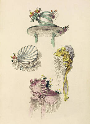 Ribbon Drawing - Bonnets For An Occasion, Fashion Plate by English School