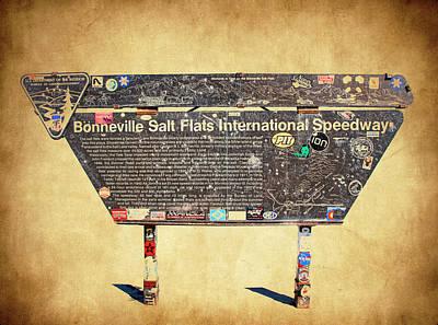 Bonneville Salt Flats Sign Art Print by Steve McKinzie