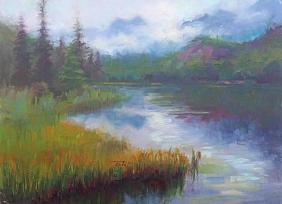 Bonnie Lake - Alaska Misty Landscape Art Print by Talya Johnson