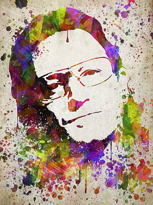 Irish Rock Band Drawing - Bono In Color by Aged Pixel