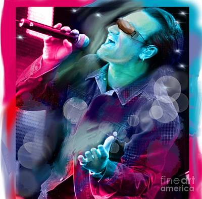 U2 Digital Art - Bono Of U2 by Diana Riukas
