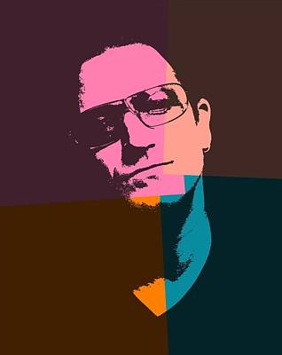 Irish Rock Band Digital Art - Bono Pop Art by Dan Sproul