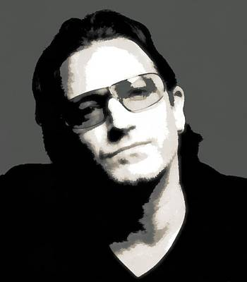 Irish Rock Band Digital Art - Bono Poster by Dan Sproul