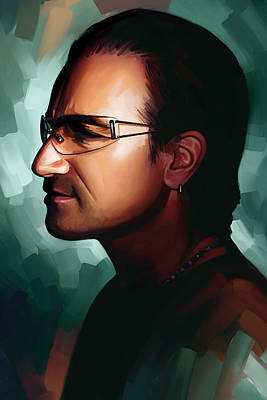 Bono Painting - Bono U2 Artwork 1 by Sheraz A