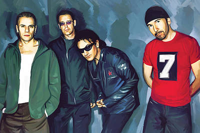 U2 Painting - Bono U2 Artwork 5 by Sheraz A