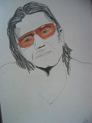 Bono Drawing - Bono Vox by Manuel Charles Martin