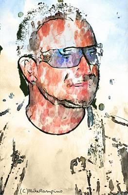 Bono Drawing - Bono Vox. by Mike Rampino