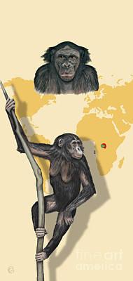 Ape. Great Ape Painting - Bonobo Pan Paniscus - Shrinking Habitat - Zoo Panels  Great Apes - Schautafel Menschenaffen by Urft Valley Art
