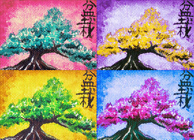 Asian Pop Culture Painting - Bonsai Pop Art by Shawna Rowe