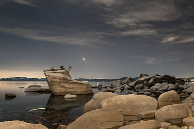 Galatic Photograph - Bonsai Rock With Venus And Mars by Tony Fuentes