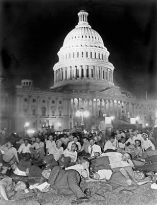Crowd Scene Photograph - Bonus Army Sleeps At Capitol by Underwood Archives