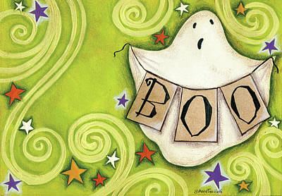 Chartreuse Painting - Boo Ghost by Anne Tavoletti