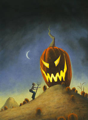 Dark Humor Painting - Boo It's The Great Pumpkin Farmer Brown by Stacy Drum