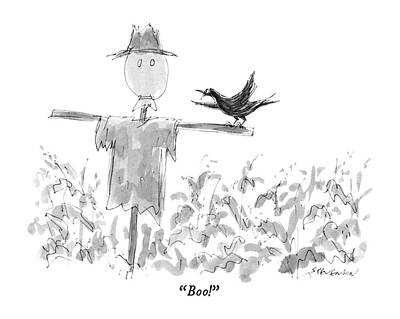 Blackbird Drawing - Boo! by James Stevenson