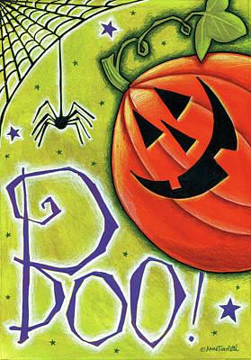 Spider Web Painting - Boo Pumpkin And Spider by Anne Tavoletti