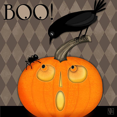 Eerie Digital Art - BOO by Valerie Drake Lesiak