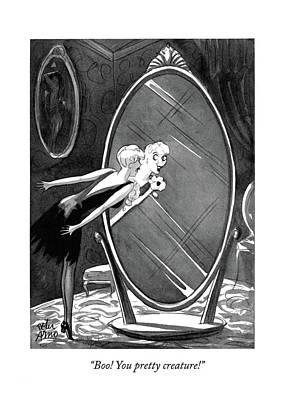 Mirror Drawing - Boo! You Pretty Creature! by Peter Arno