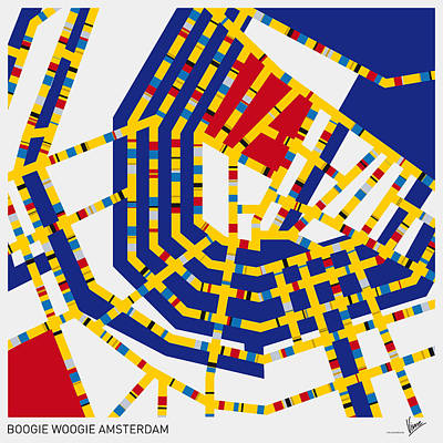 Mondrian Design Digital Art - Boogie Woogie Amsterdam by Chungkong Art