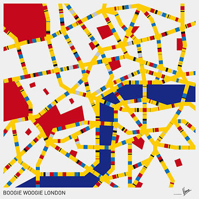 Mondrian Design Digital Art - Boogie Woogie London by Chungkong Art