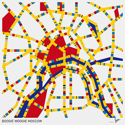 Mondrian Design Digital Art - Boogie Woogie Moscow by Chungkong Art