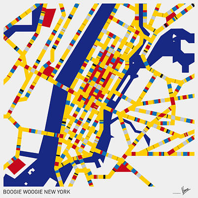 Mondrian Design Digital Art - Boogie Woogie New York by Chungkong Art