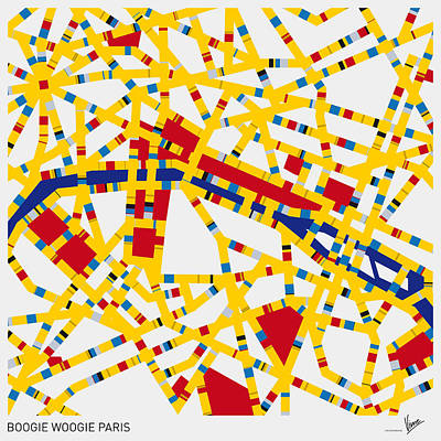 Mondrian Design Digital Art - Boogie Woogie Paris by Chungkong Art