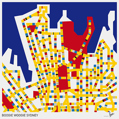 Mondrian Design Digital Art - Boogie Woogie Sydney by Chungkong Art