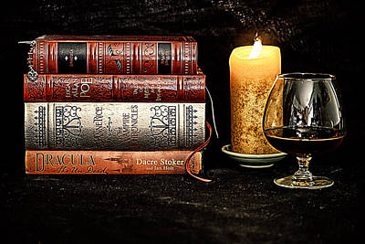 Anne Rice Digital Art - Books And Brandy by Jacque The Muse Photography