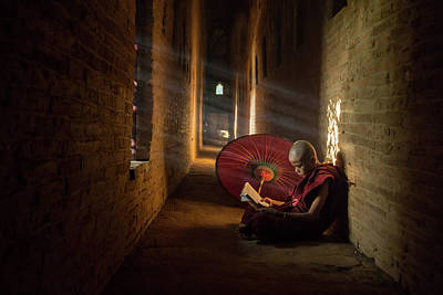 Corridor Photograph - Book And Monk by Gunarto Song