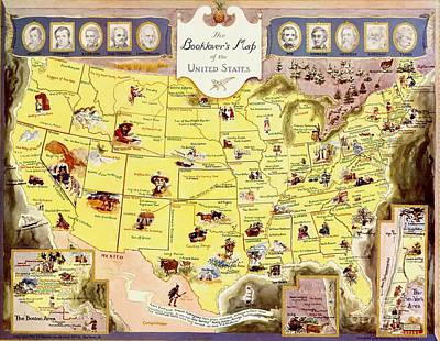 Painting - Book Lover's Map - United States by Pg Reproductions