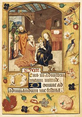 Child Jesus Photograph - Book Of Hours. 15th C. Epiphany Scene by Everett
