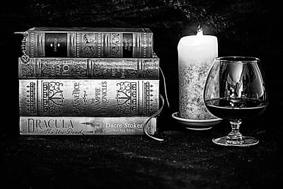 Anne Rice Digital Art - Books And Brandy Black And White by Jacque The Muse Photography