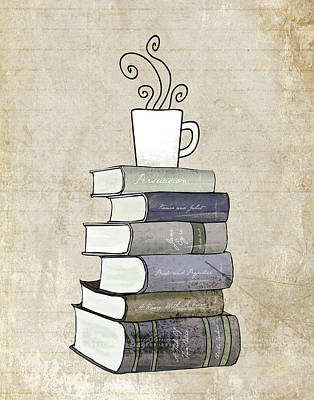 Book Painting - Books And Coffee Print by Amy Cummings