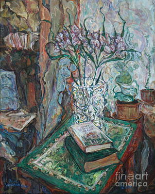 Painting - Books And Flowers by Anna Yurasovsky