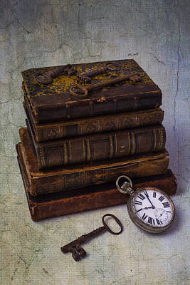 Photograph - Books And Old Watch by Garry Gay