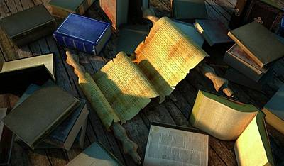 Knowledge Photograph - Books And Parchment by Leonello Calvetti