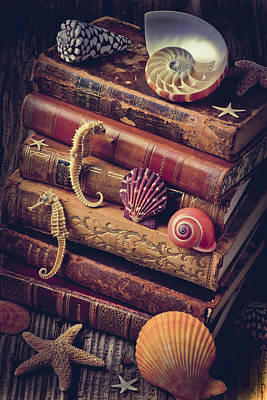 Seahorse Photograph - Books And Sea Shells by Garry Gay