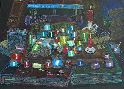 Art Print featuring the drawing Books And Spools/bernie And Joe by Joseph Hawkins
