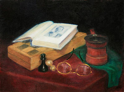 Painting - Books-chess-coffee by Masha Batkova