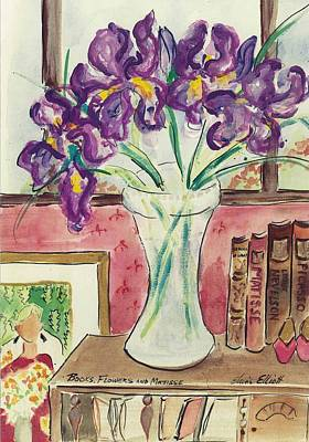 Art Print featuring the painting Books Flowers And Matisse by Elaine Elliott