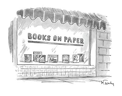 On Paper Drawing - 'books On Paper' by Mike Twohy