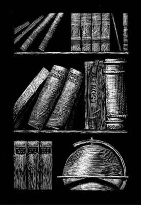 Books On Shelves Art Print
