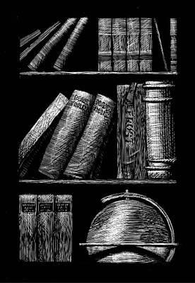 Books On Shelves Print by Jim Harris