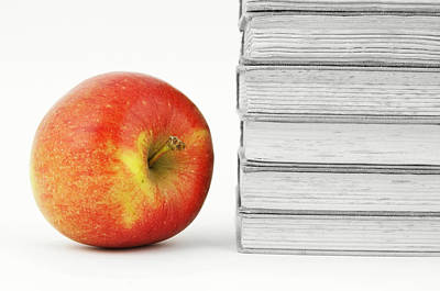 On Paper Photograph - Books With Apple by Chevy Fleet