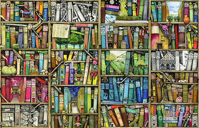Framed Digital Art - Bookshelf by Colin Thompson