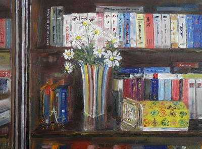 Painting - Bookworm Bookshelf Still Life by Anna Ruzsan