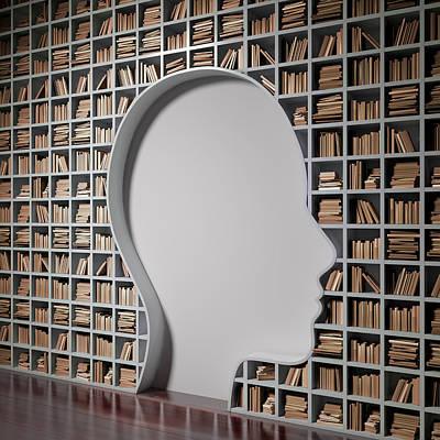 Bookshelf With The Shape Of Human Head Art Print by Andrzej Wojcicki