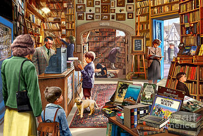 Labrador Digital Art - Bookshop by Steve Crisp
